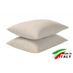 Coppia Federe Guanciale Federe Standard Made In Italy Puro Cotone Panna