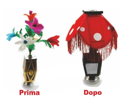 Apparizione di lume da notte da un vaso con fiori