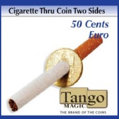 Sigaretta attraverso moneta da 050 cent euro Doppia faccia TANGO