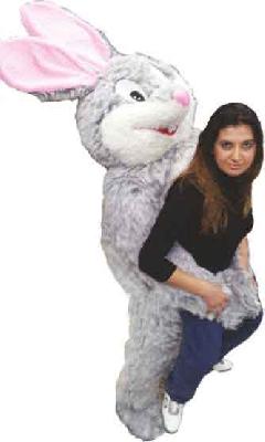 Mascotte coniglio ti prende in braccio