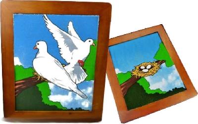Colomba dal quadro e nido