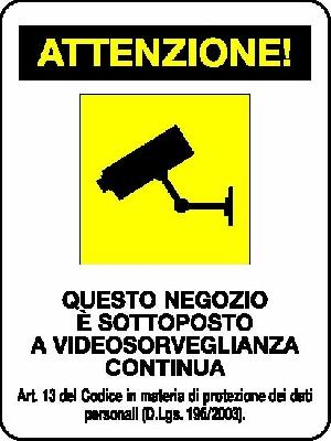 4 cartelli videosorveglianza PVC