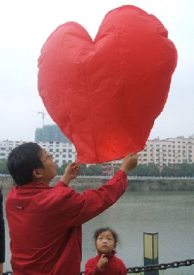 Lanterna cinese dei desideri a cuore 300 pezzi pennarelli OMAGGIO Cert