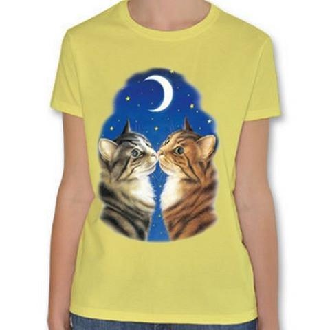 T Shirt Donna Gatti Coppia Amore Luna Stelle Cielo