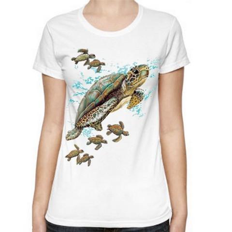 T Shirt Donna Tartarughe Cucciolo Famiglia Nuoto Mare