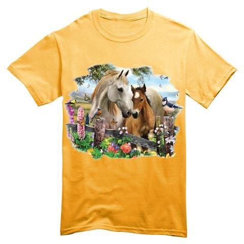 T Shirt Bambino Cavallo Puledro Fiori