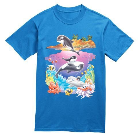 T Shirt Bambini Orca Delfini Pesci Isola Mare