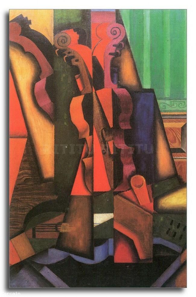 Riproduzione Artistica violino e chitarra di Juan Gris