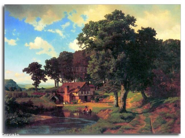 Riproduzione Artistica Un mulino rustico da Bierstadt
