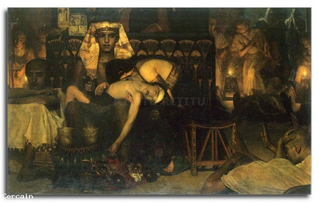 Riproduzione Artistica La morte del primo nato da Alma Tadema