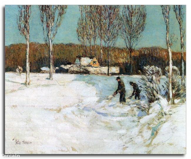 Pallido da neve Riproduzione Artistica New England da Hassam