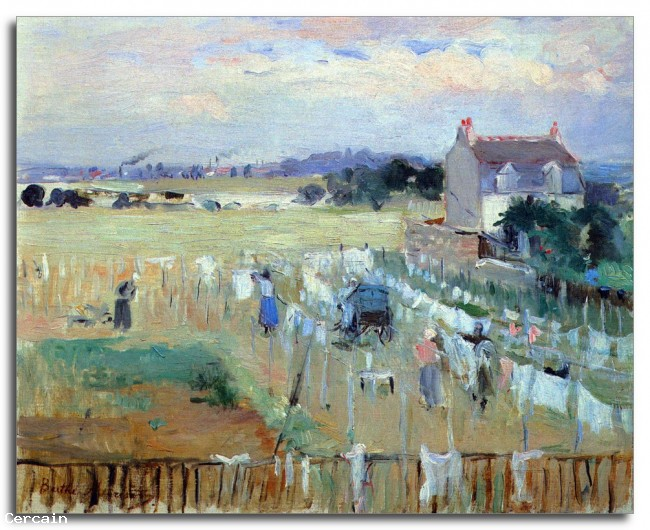 Riproduzione Artistica lavanderia asciugatura Morisot