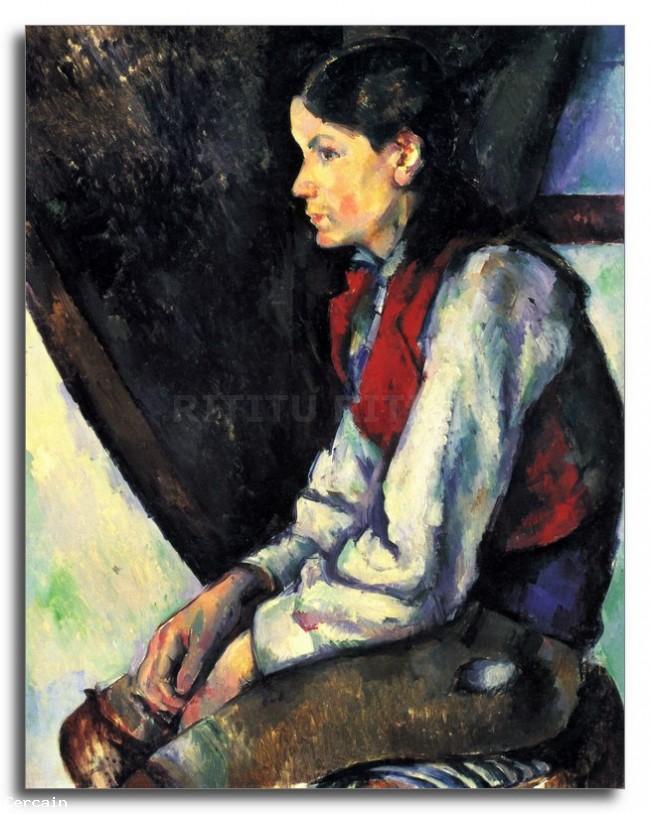 Riproduzione Artistica Ragazzo con gilet rosso di Cèzanne