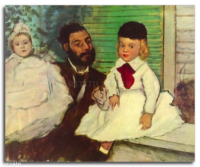 Riproduzione Artistica Ritratto del conte Lepic e le sue figlie di Deg