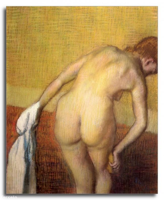 Donna Riproduzione Artistica essiccazione con asciugamano e spugna di
