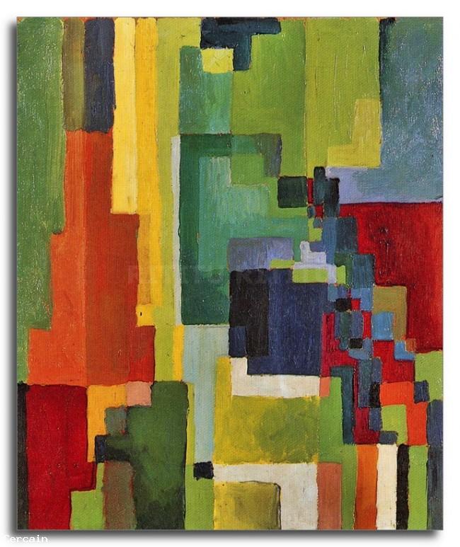 Riproduzione Artistica forme colorate II di August Macke