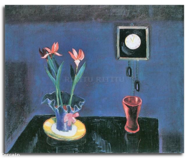 Riproduzione Artistica Natura morta con orologio e vaso tulipano da Wa