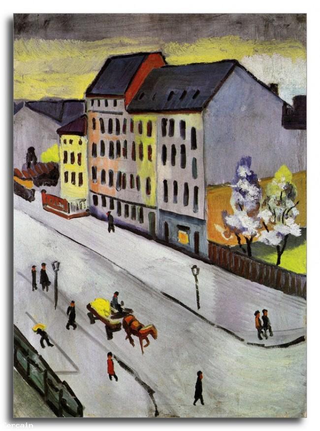 Riproduzione Artistica Street nel grigio di August Macke