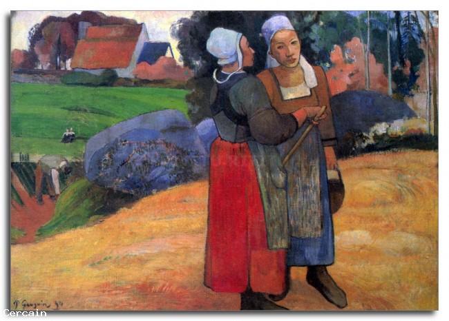 Riproduzione Artistica Breton Famers da Gauguin