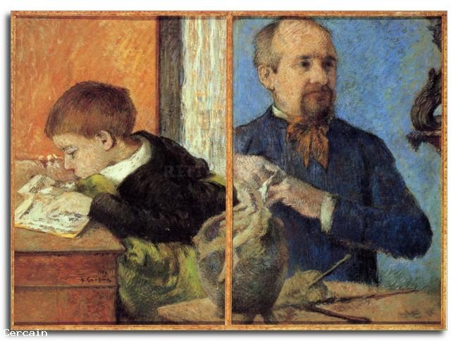 Riproduzione Artistica Ritratto di scultore con Figlio di Gauguin