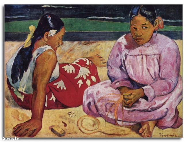 Riproduzione Artistica Tahitian Women on Beach di Gauguin