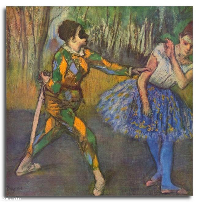 Riproduzione Artistica Arlecchino e Colombine di Degas