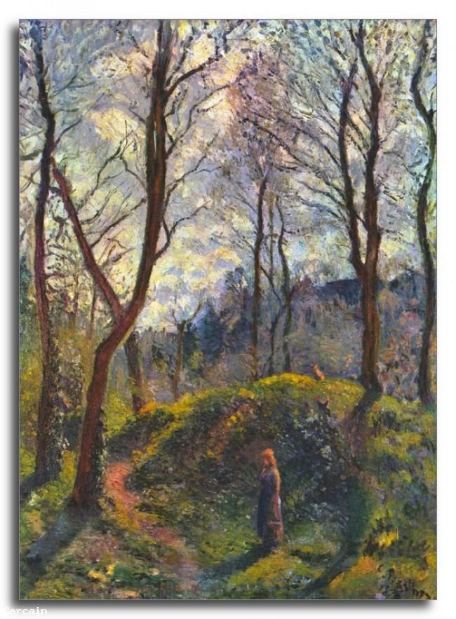 Paesaggio Riproduzione Artistica con grandi alberi di Pissarro