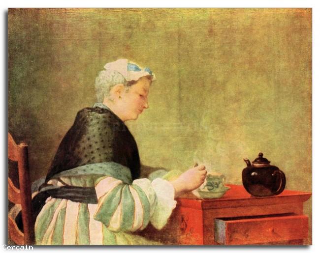 Riproduzione Artistica bevitore di tè da Jean Chardin