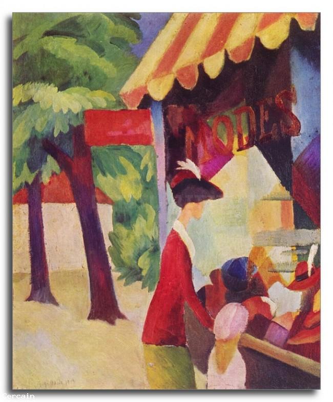 Riproduzione Artistica Prima Hutladen donna con una giacca rossa e ba