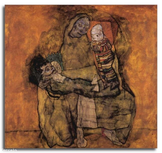 Riproduzione Artistica Madre con due bambini di Schiele