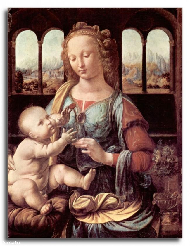 Riproduzione Artistica Madonna con il garofano di Da Vinci