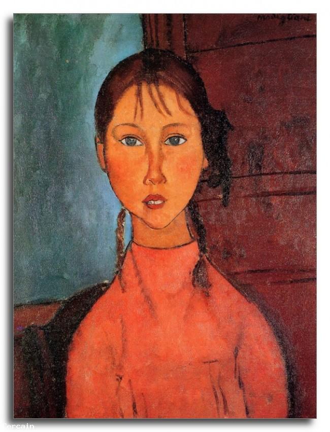 Riproduzione Artistica Modigliani ragazza con trecce