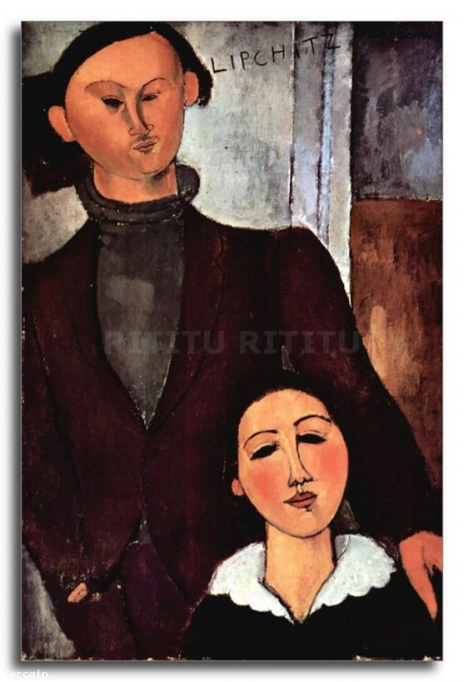 Riproduzione Artistica Modigliani Ritratto di coppia sposata Lipchit