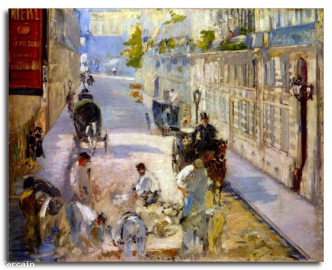 Riproduzione Artistica lavoratori stradali rue de Berne di Manet