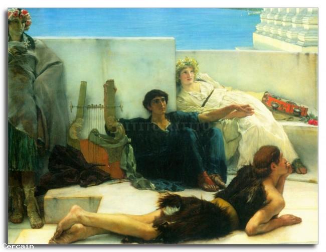 Riproduzione Artistica Alma Tadema Una lettura di Omero particolare