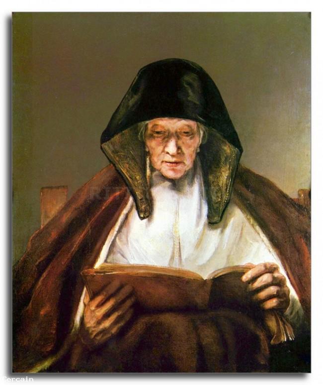 Riproduzione Artistica Vecchia donna la lettura di Rembrandt