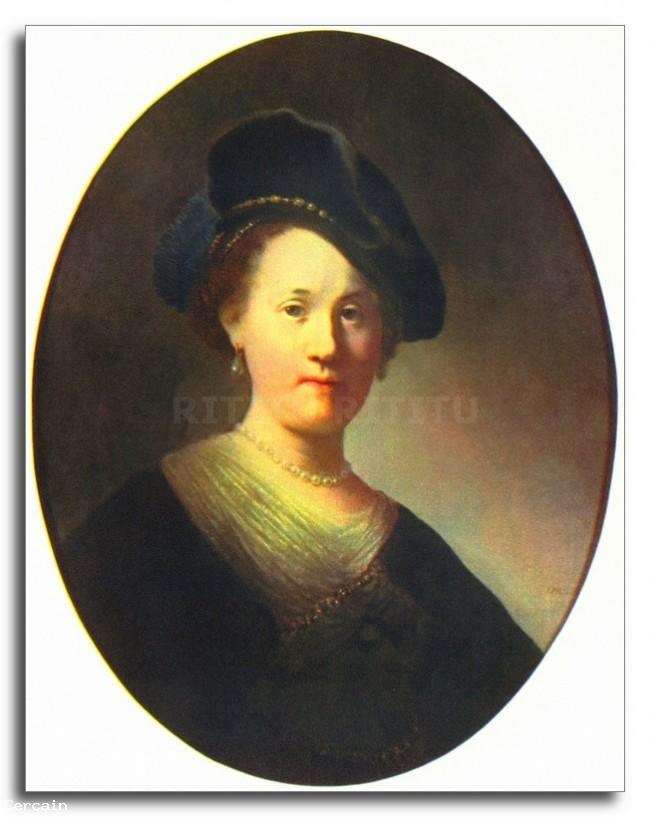 Riproduzione Artistica Ritratto di una giovane donna con il berretto d