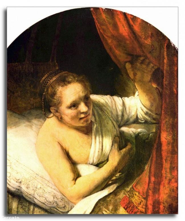 Riproduzione Artistica Giovane donna a letto di Rembrandt