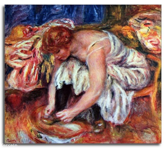 Riproduzione Artistica Donna che si allaccia le scarpe di Renoir