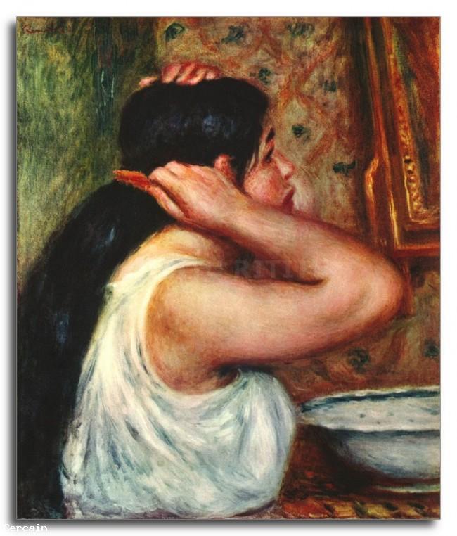 Riproduzione Artistica Donna che pettina i capelli di Renoir