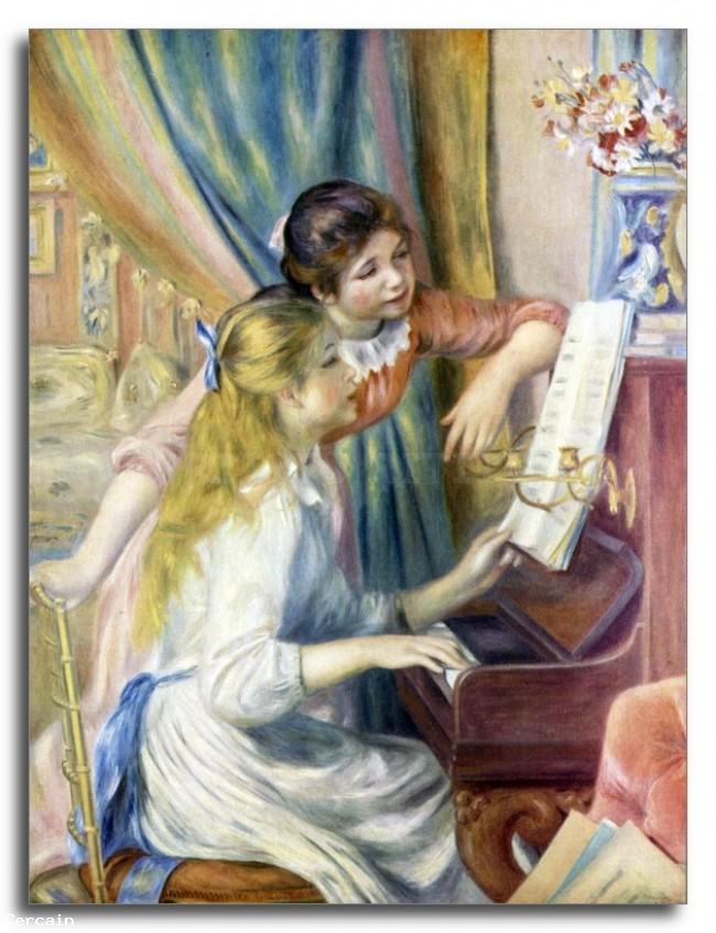Riproduzione Artistica Giovani ragazze al pianoforte 3 di Renoir