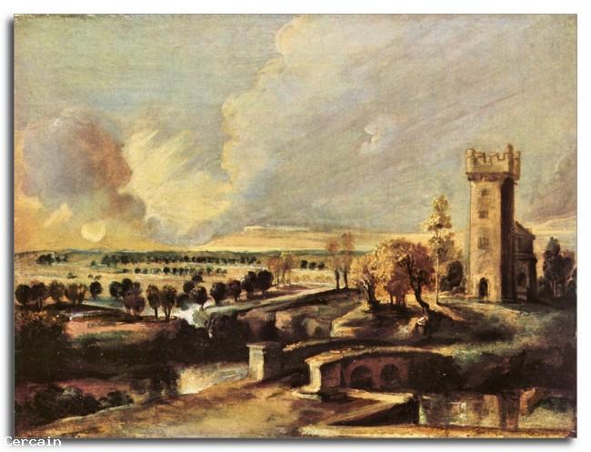 Riproduzione Artistica Paesaggio con la torre del castello di Steen di