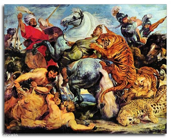 Riproduzione Artistica Caccia del Leone e della tigre di Rubens