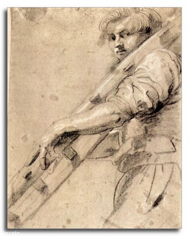 Riproduzione Artistica Uomo con una scala di Rubens