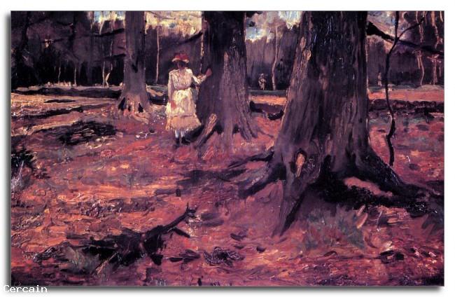 Riproduzione Artistica Ragazza in bianco nel bosco di Van Gogh