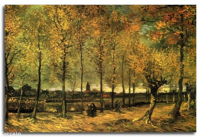 Riproduzione Artistica Vicolo con pioppi di Van Gogh