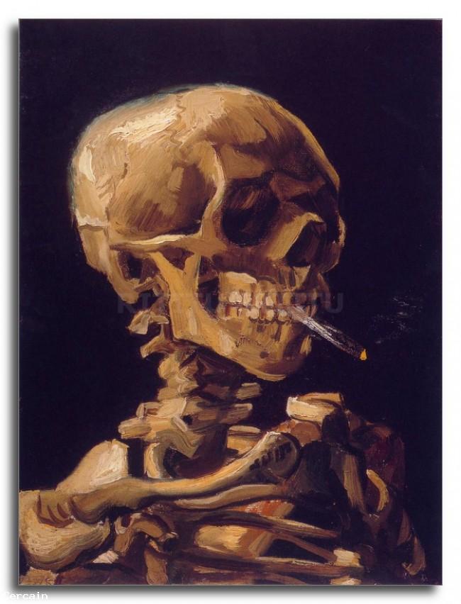 Riproduzione Artistica Cranio con una sigaretta accesa di Van Gogh