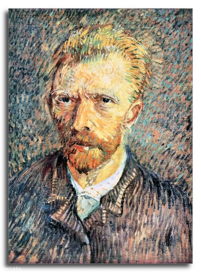 Riproduzione Artistica Autoritratto con camicia marrone di Van Gogh
