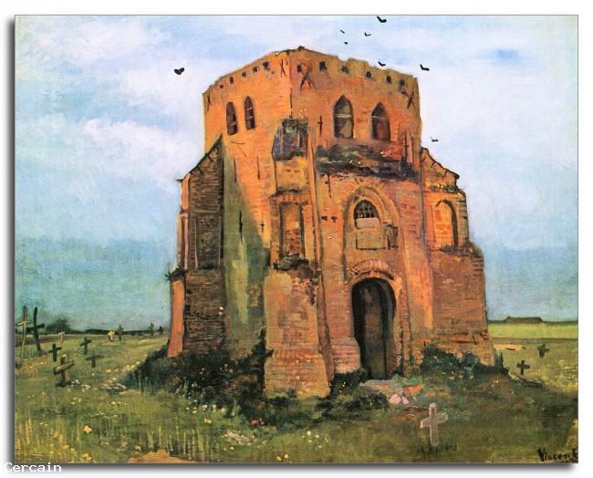 Riproduzione Artistica Il vecchio cimitero di Nuenen di Van Gogh