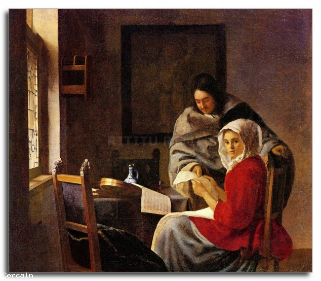 Riproduzione Artistica Ragazza interrotta nella sua musica di Vermeer